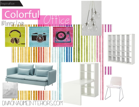 colorful office diva on a dime interiors marissa iacovoni
