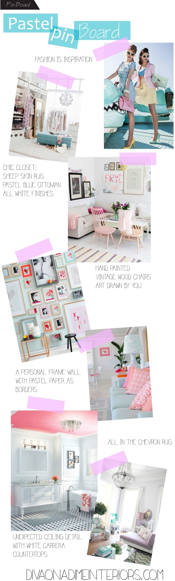 diva on a dime interiors PASTEL PIN BOARD