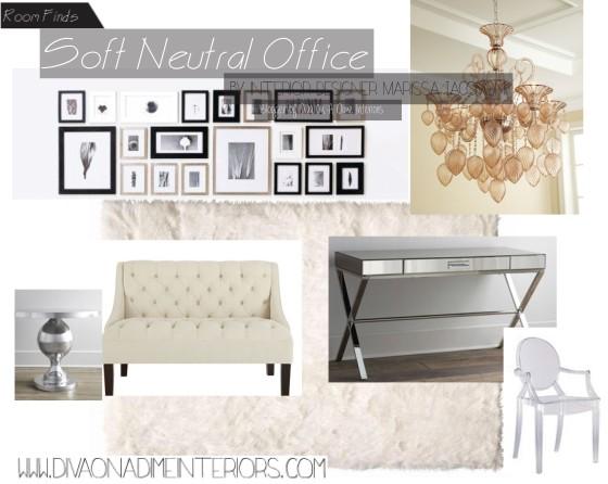 soft neutral office diva on a dime interiors marissa iacovoni